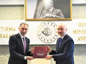 AZERBAYCAN İLE TÜRKİYE ARASINDA ULAŞTIRMA VE HABERLEŞME ALANLARINDA İLK ADIM ATILDI